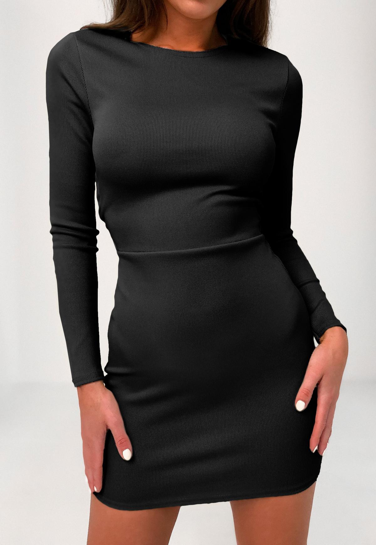 rückenfreies minikleid mit rückenbindung und langen Ärmeln in schwarz