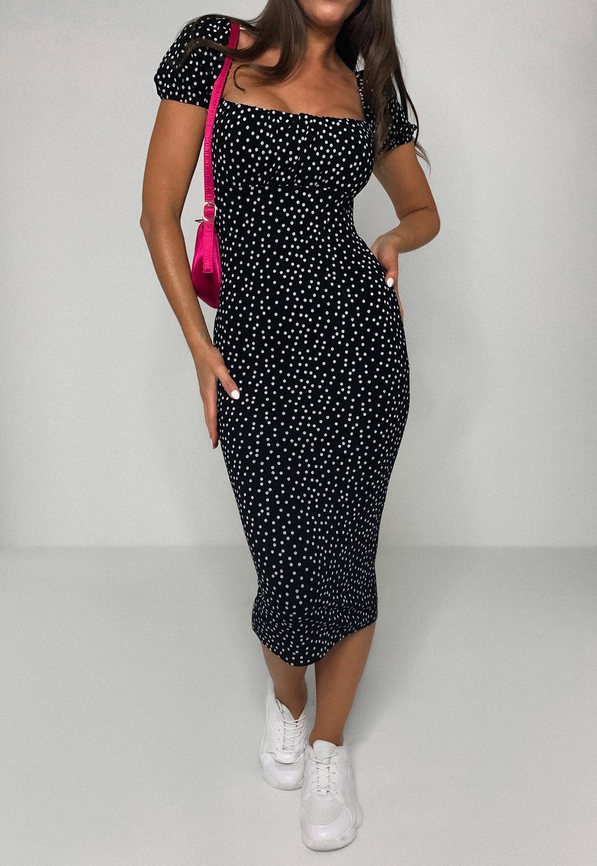 Black Polka Dot Ruched Bust Milkmaid Midi Dress | Missguided