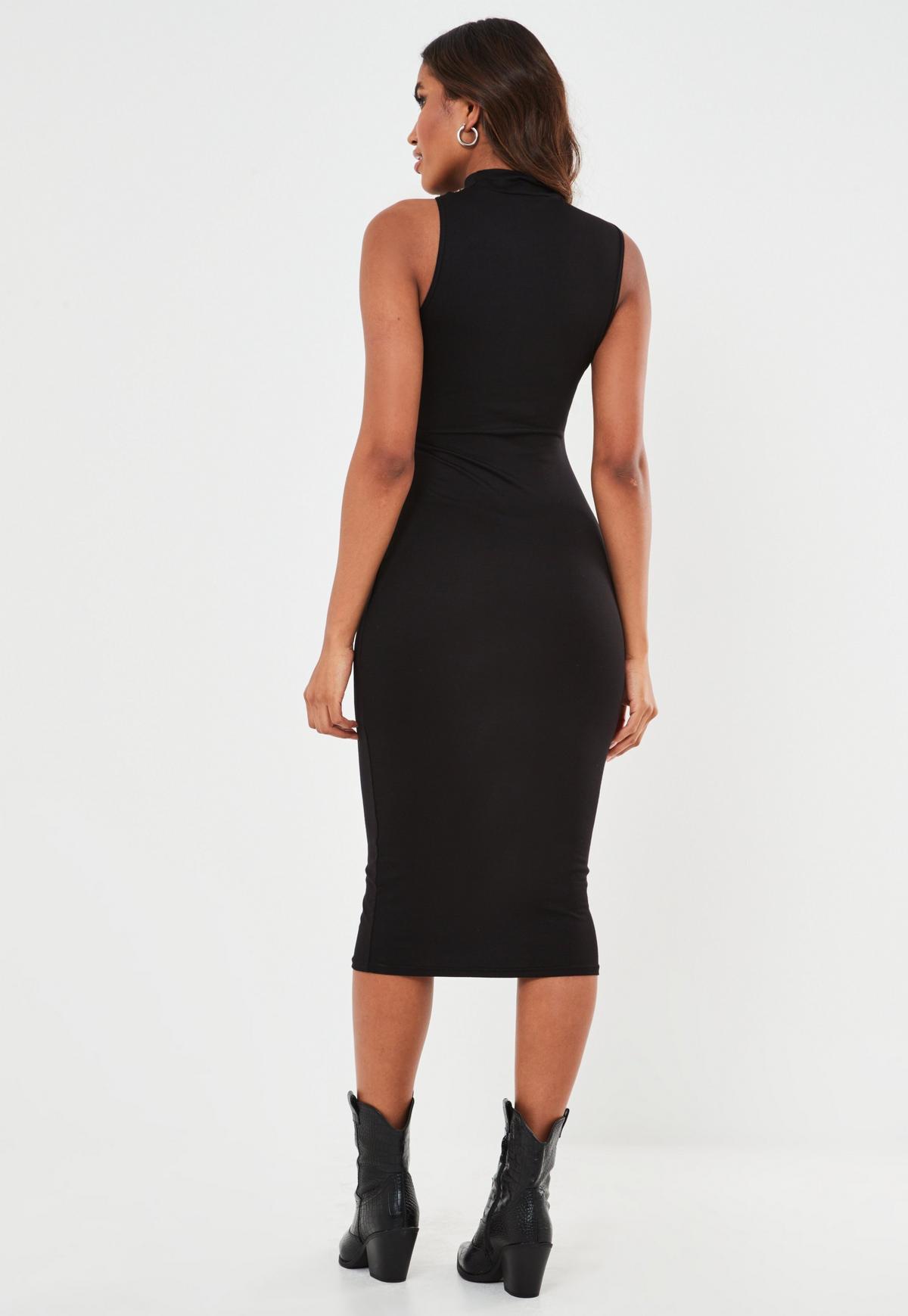 Ärmelloses Cut-Out Midaxi-Kleid in Schwarz | Missguided