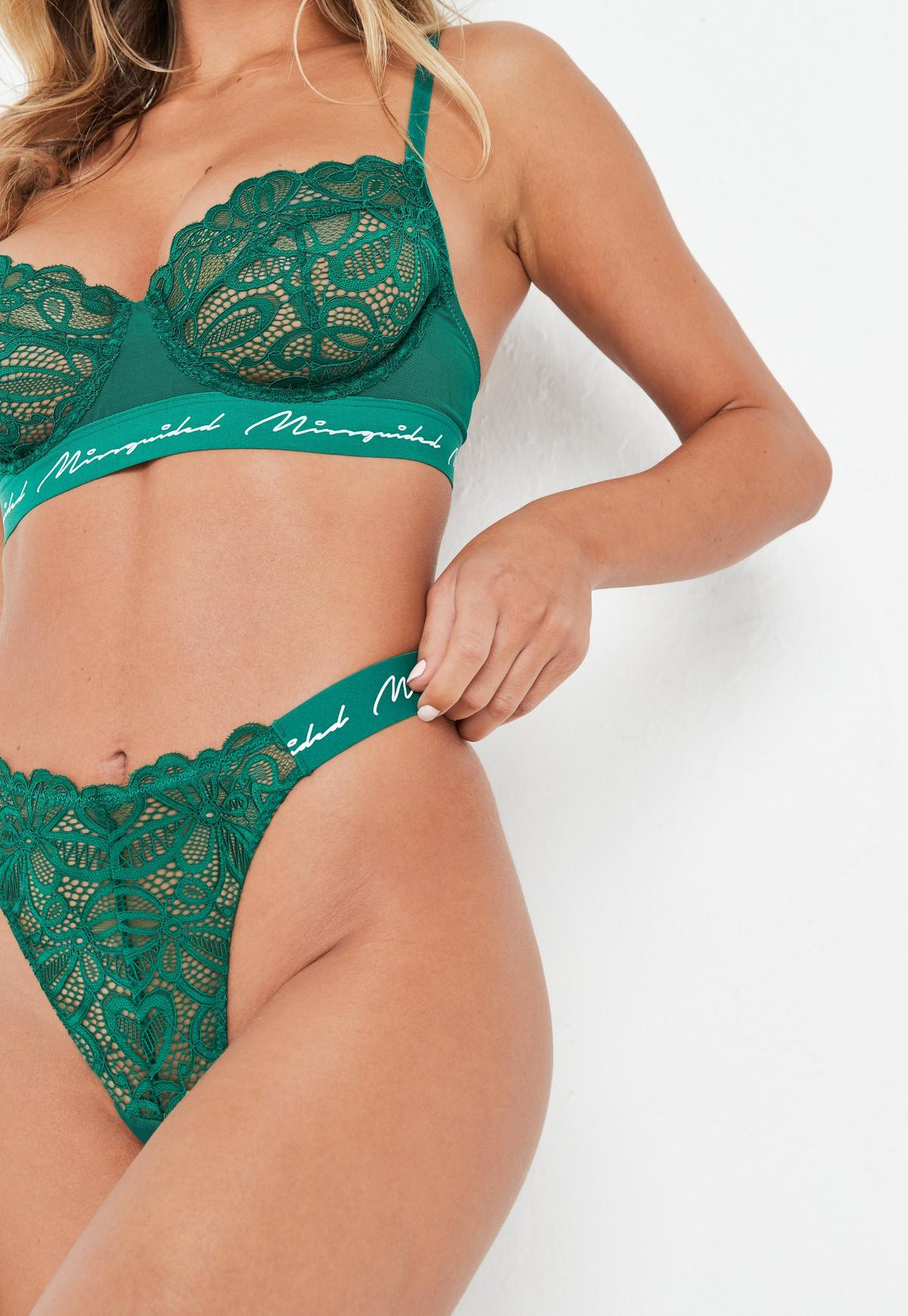 Emerald Missguided Lace High Leg Thong Panties Missguided