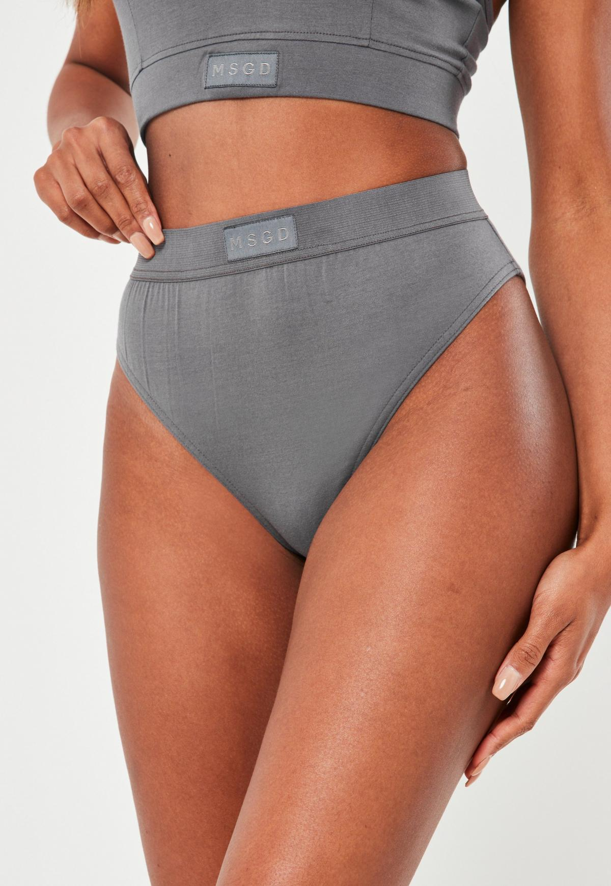 Grey Msgd High Waisted High Leg Knickers Missguided