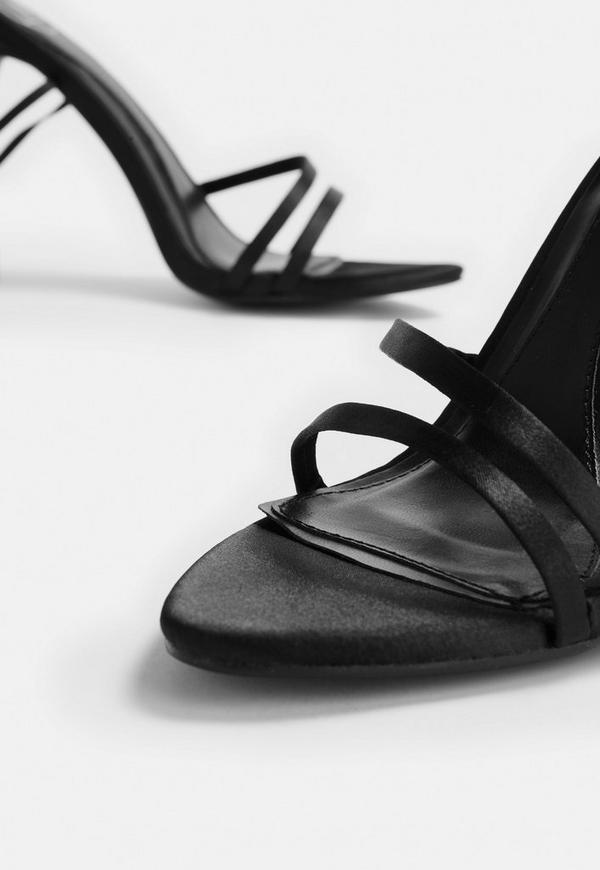 9a468b866f0 Black Pointed Toe Lace Up Barely There Heels