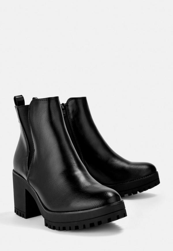 Black Faux Leather Chunky Chelsea Ankle Boots