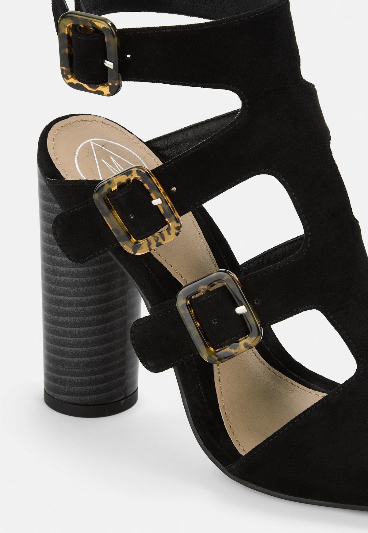 Black Multi Buckle Block Heeled Sandals