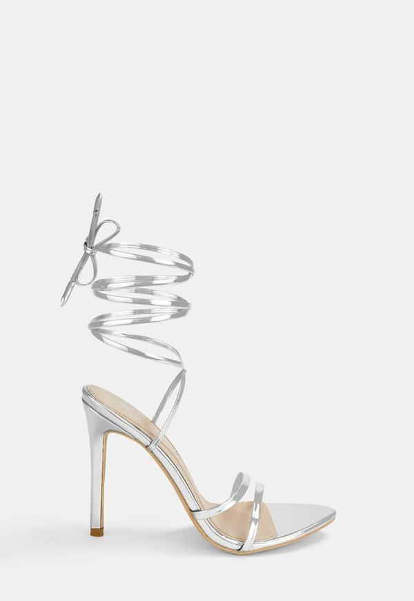 b73be2262cc Silver Lace Up Barely There Heels