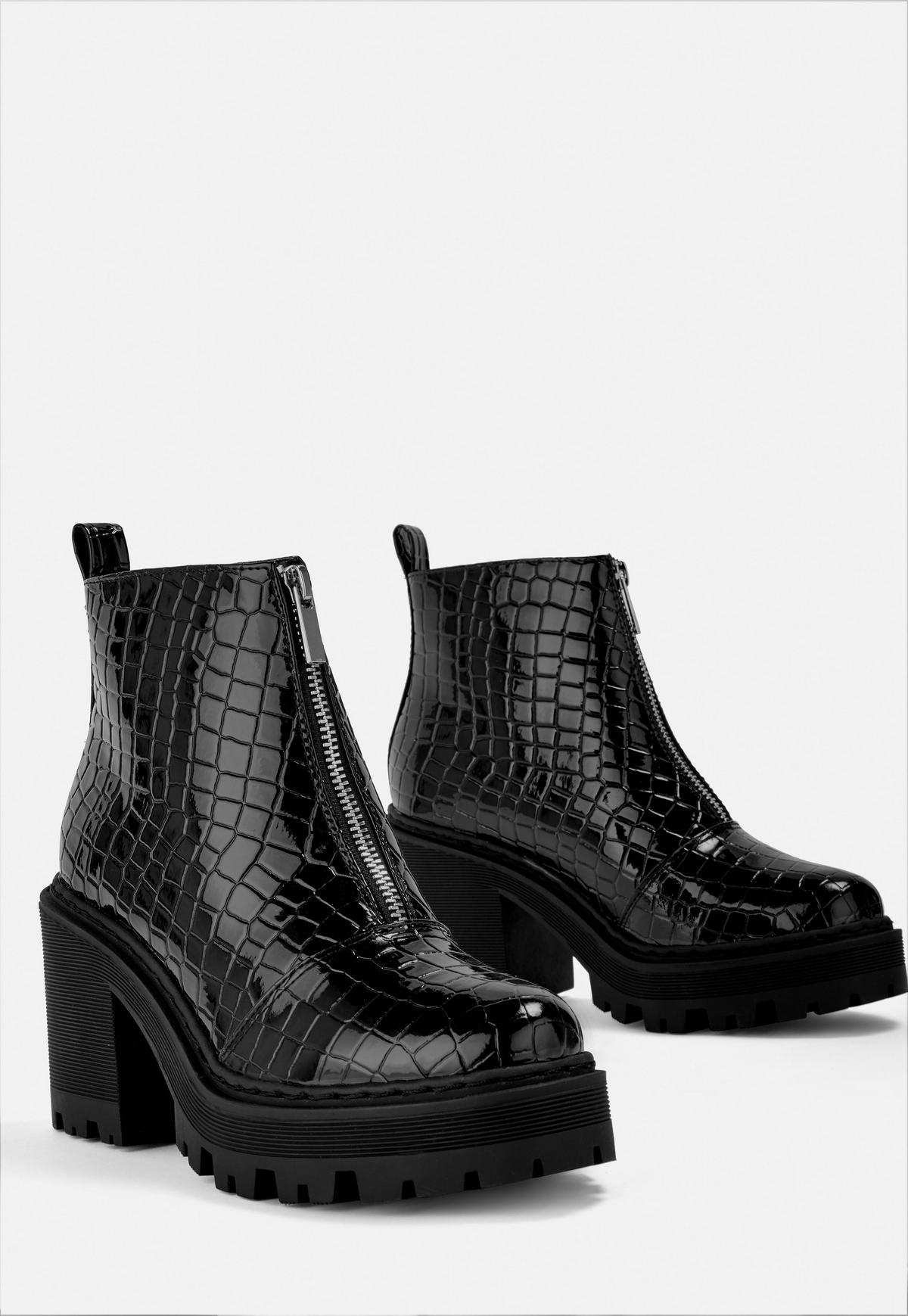 Black Croc Texture Ankle Heeled Chunky Boots 0wOk8nPX