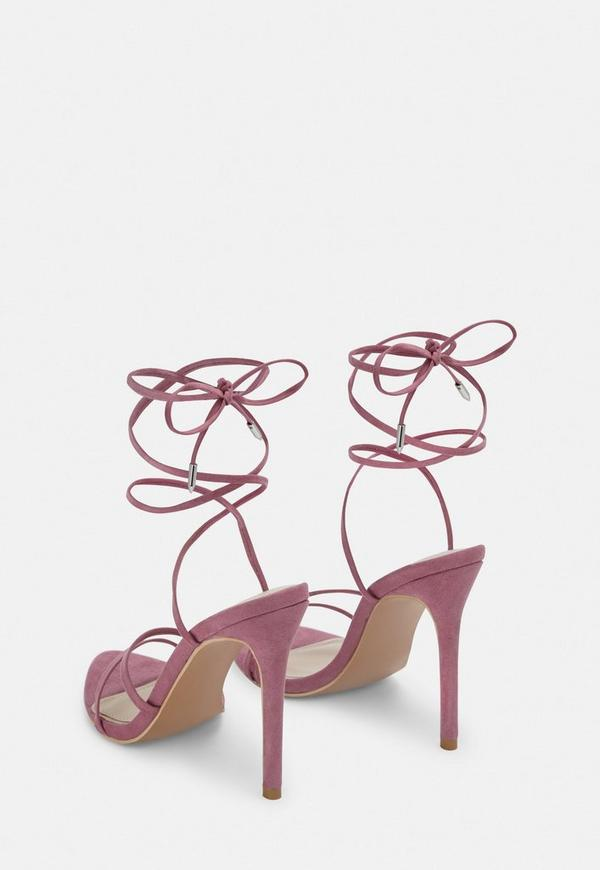 4fcaf97f1f4 Mauve Pointed Toe Lace Up Barely There Heels