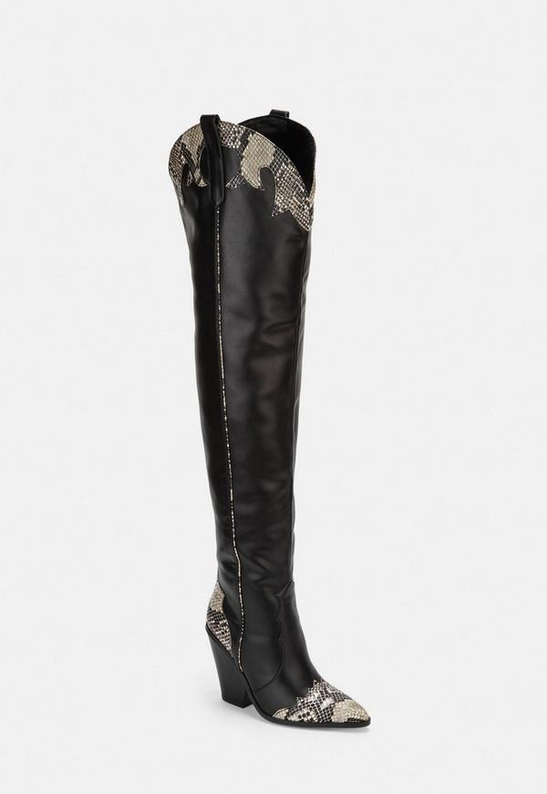 selected material sports shoes top-rated quality Black Snake Print Western Thigh High Boots