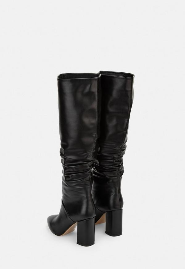 3b3209bc01c Black Faux Leather Ruched Knee High Boots