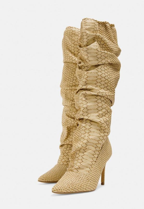 b4b10a25751 Beige Snake Print Ruched Pointed Toe Heeled Boots