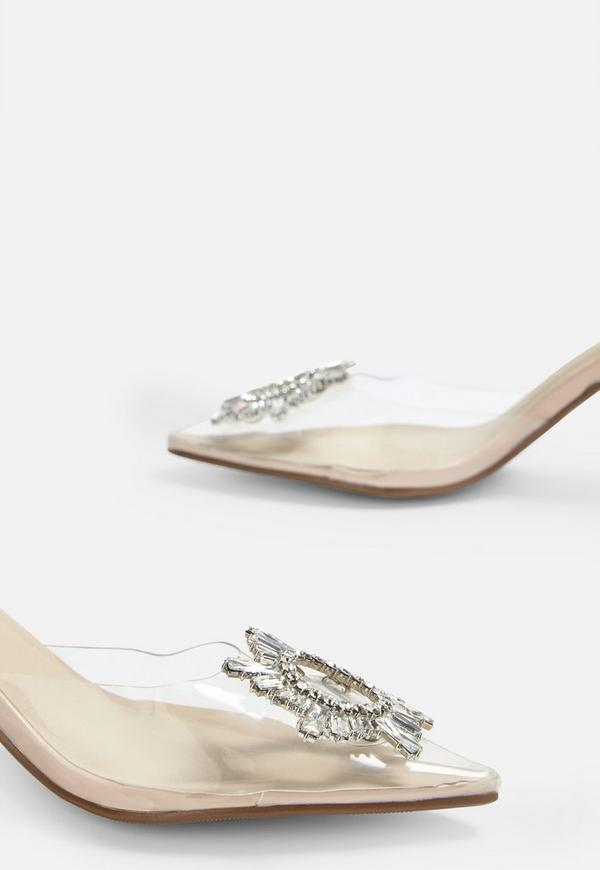 Nude Clear Diamante Detail Sling Back Heels   Missguided
