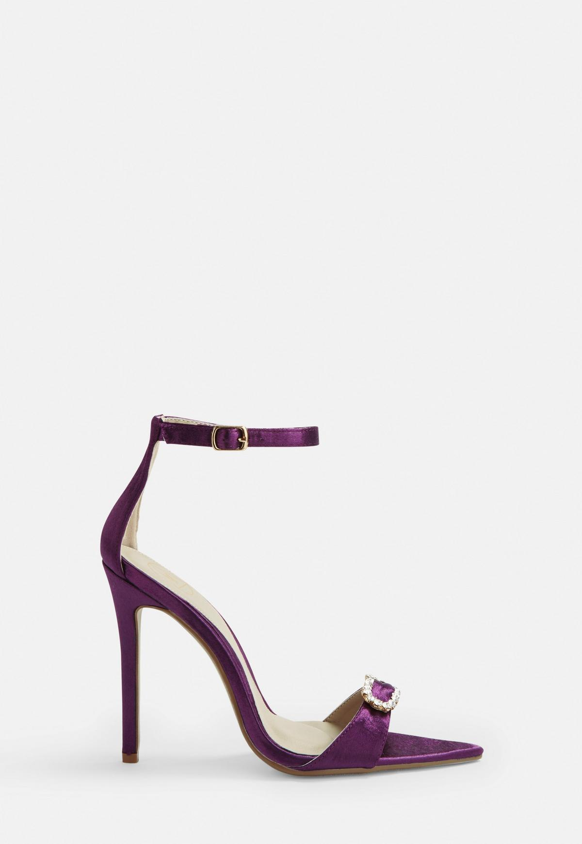 Purple Satin Diamante Heeled Sandals