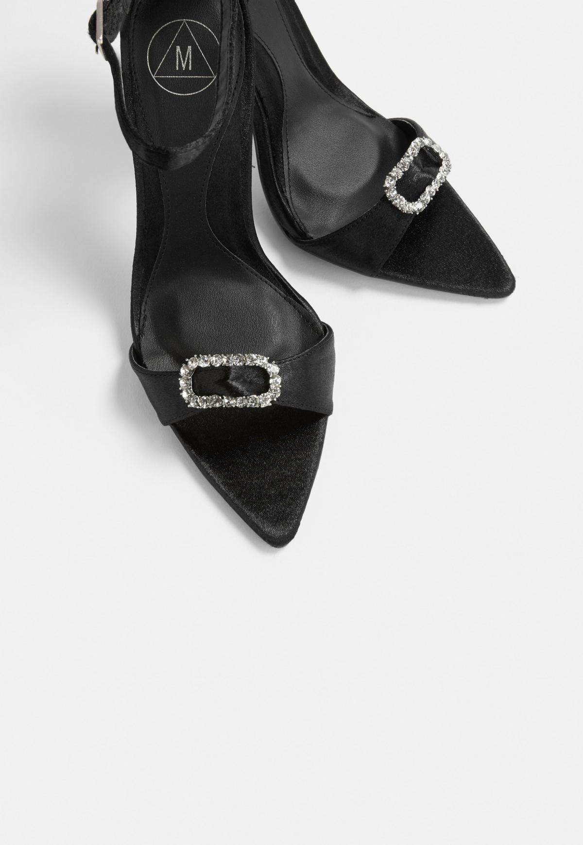Black Satin Diamante Heeled Sandals