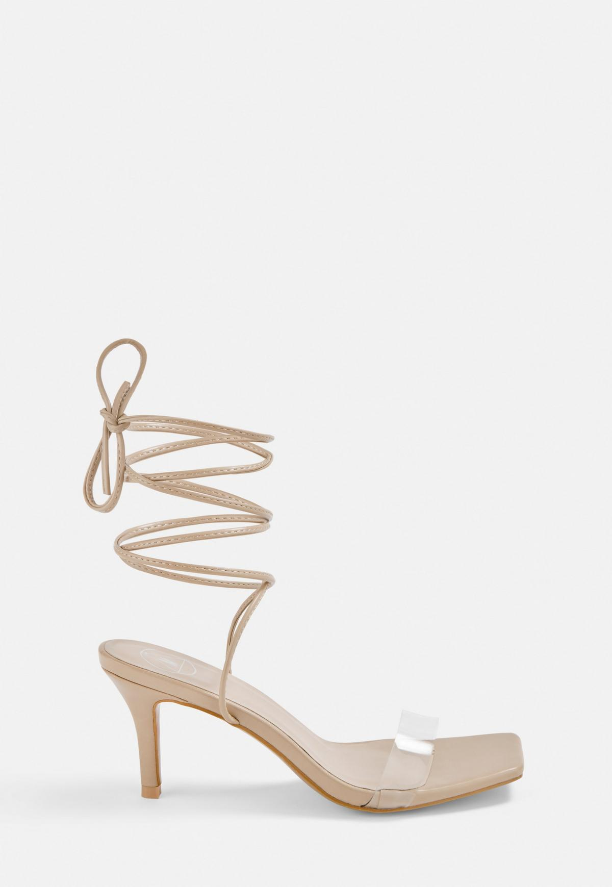 Nude Strappy Stiletto Low Heels