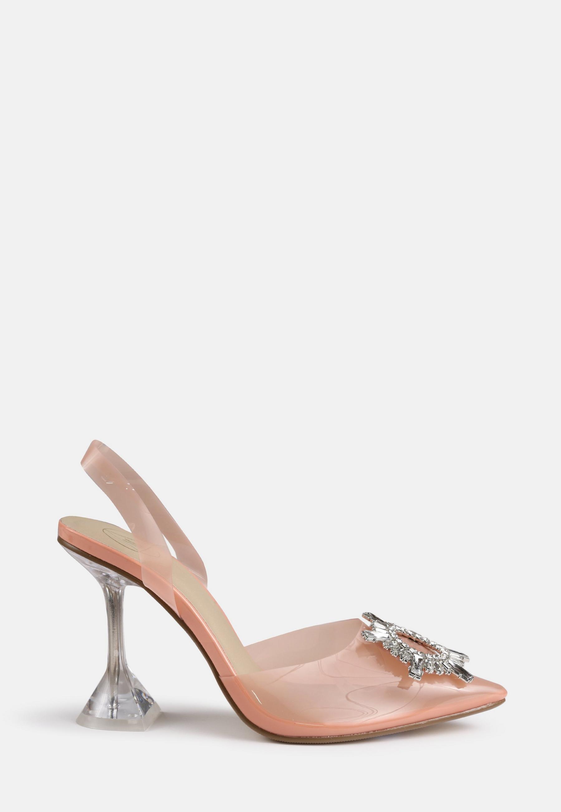 Nude Clear Strap Block Flat Diamante High Heels