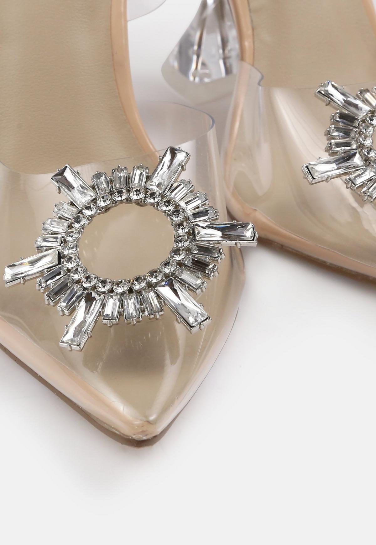 Nude Clear Heel Diamante Strap Heels   Missguided