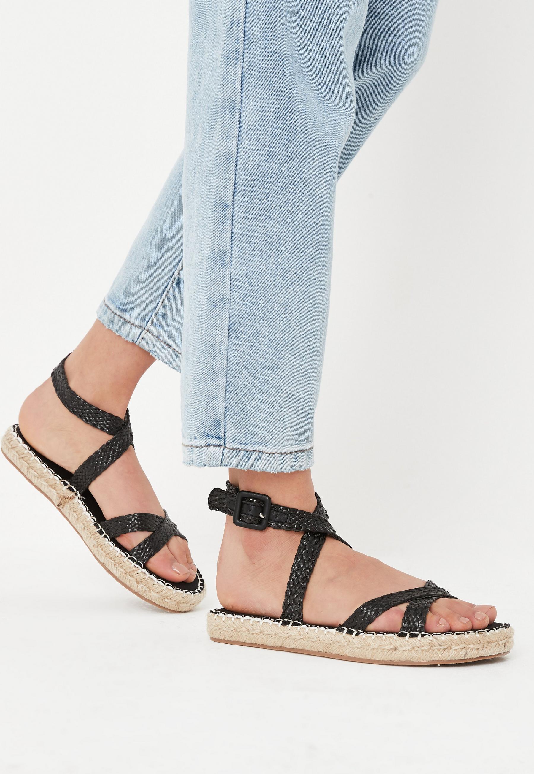 black raffia cross over flat sandals £30.00