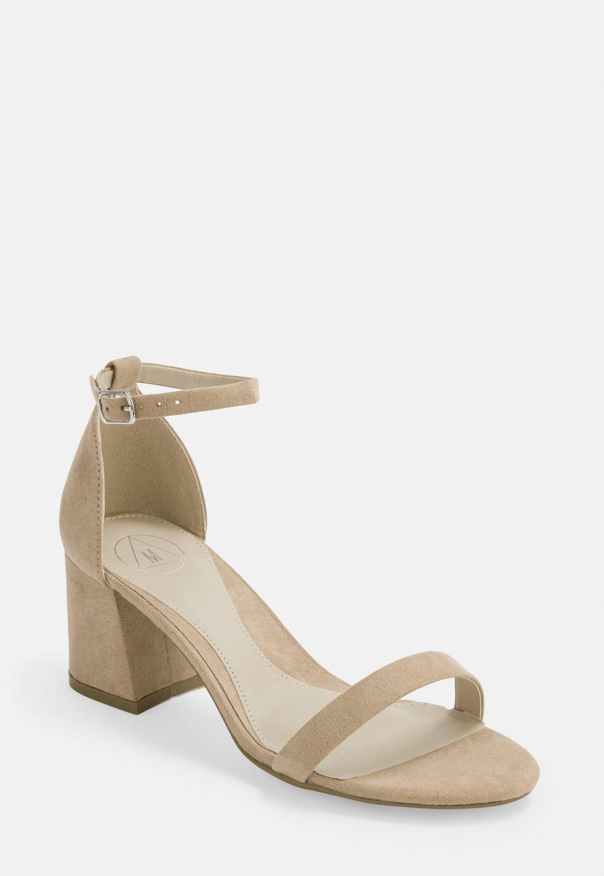Nude Wide Fit Mid Block Heel Barely There Heels