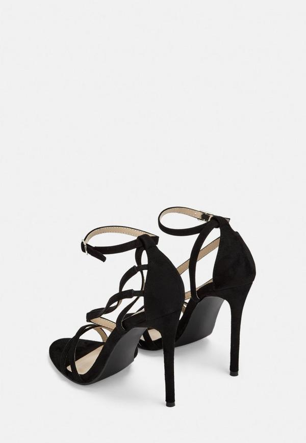 61d9881fe30 Black Wide Fit Faux Suede Strappy Barely There Heels