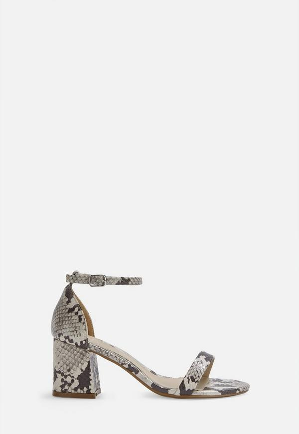 san francisco premium selection shoes for cheap White Wide Fit Snake Print Block Barley There Mid Heels
