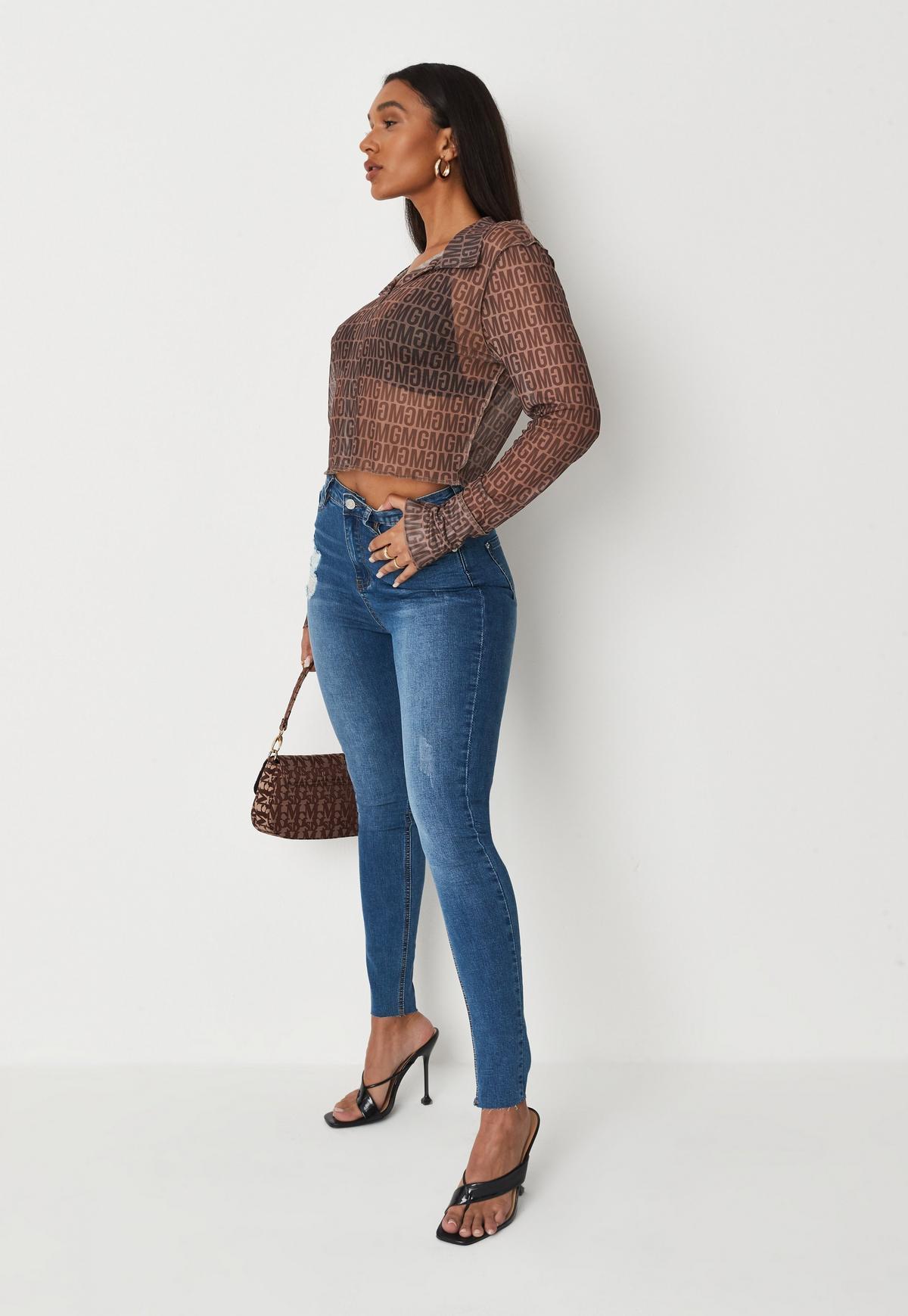 Plus Size Blue Sinner Distressed Skinny Jeans