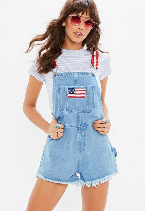 new lifestyle latest fashion best website Blue Denim Retro Dungaree Shorts