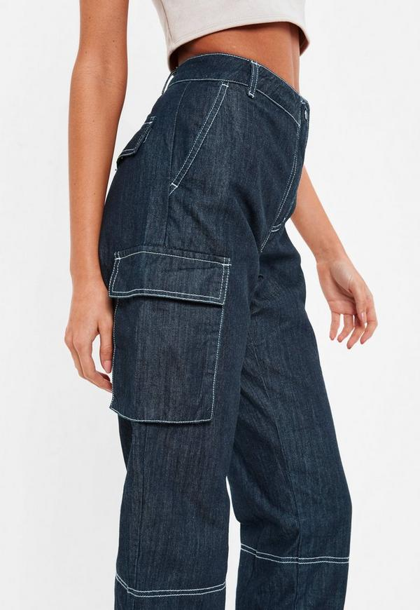 top-rated finest fabrics how to purchase Blue High Rise Denim Combat Trousers