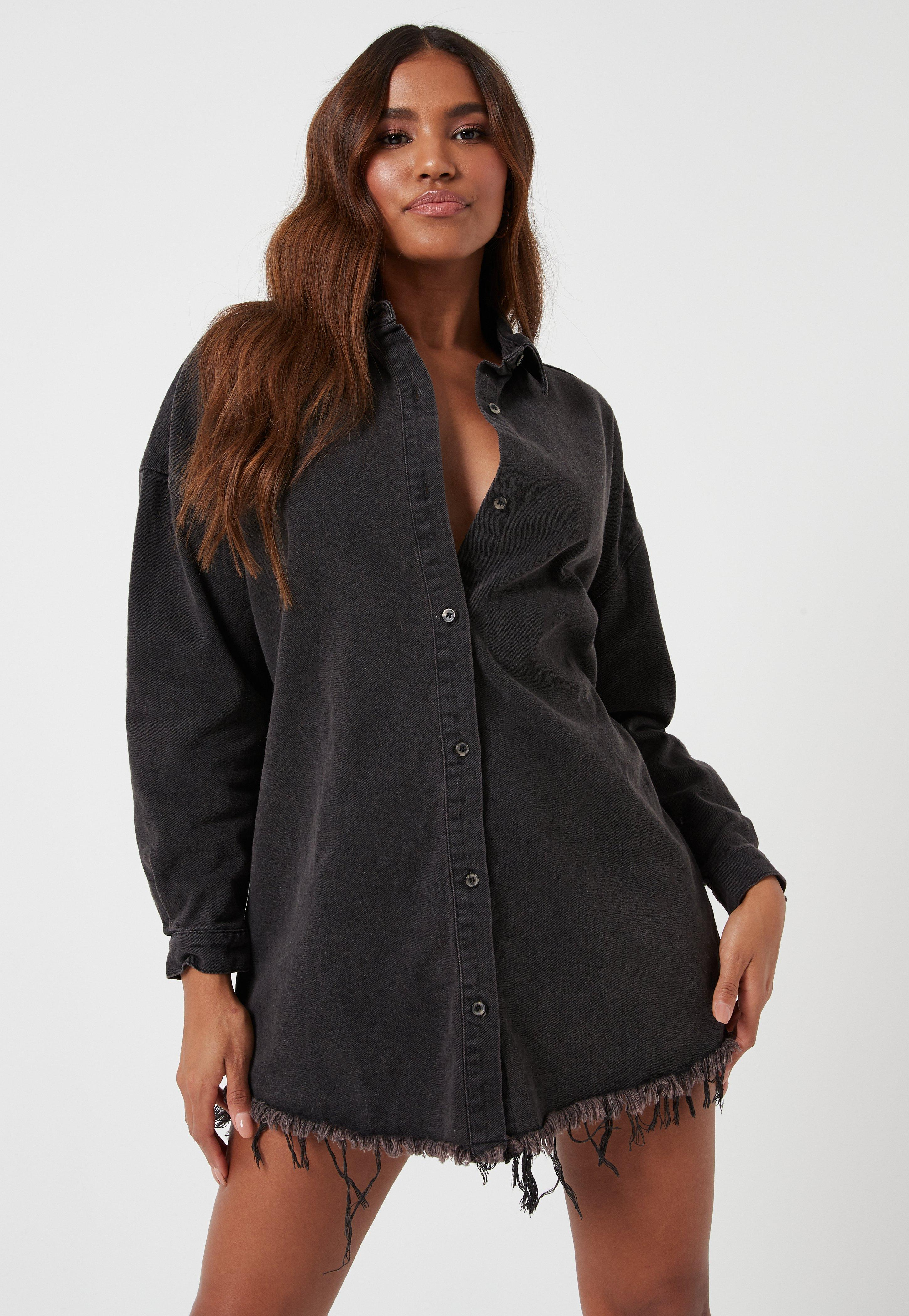 Black Oversized Denim Shirt Dress | Missguided