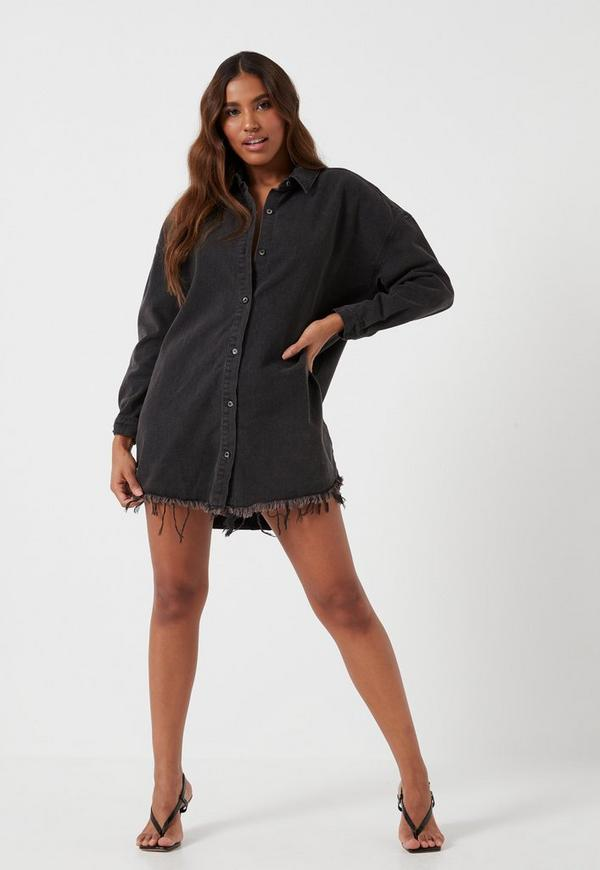 94584e9b4a Black Oversized Denim Shirt Dress