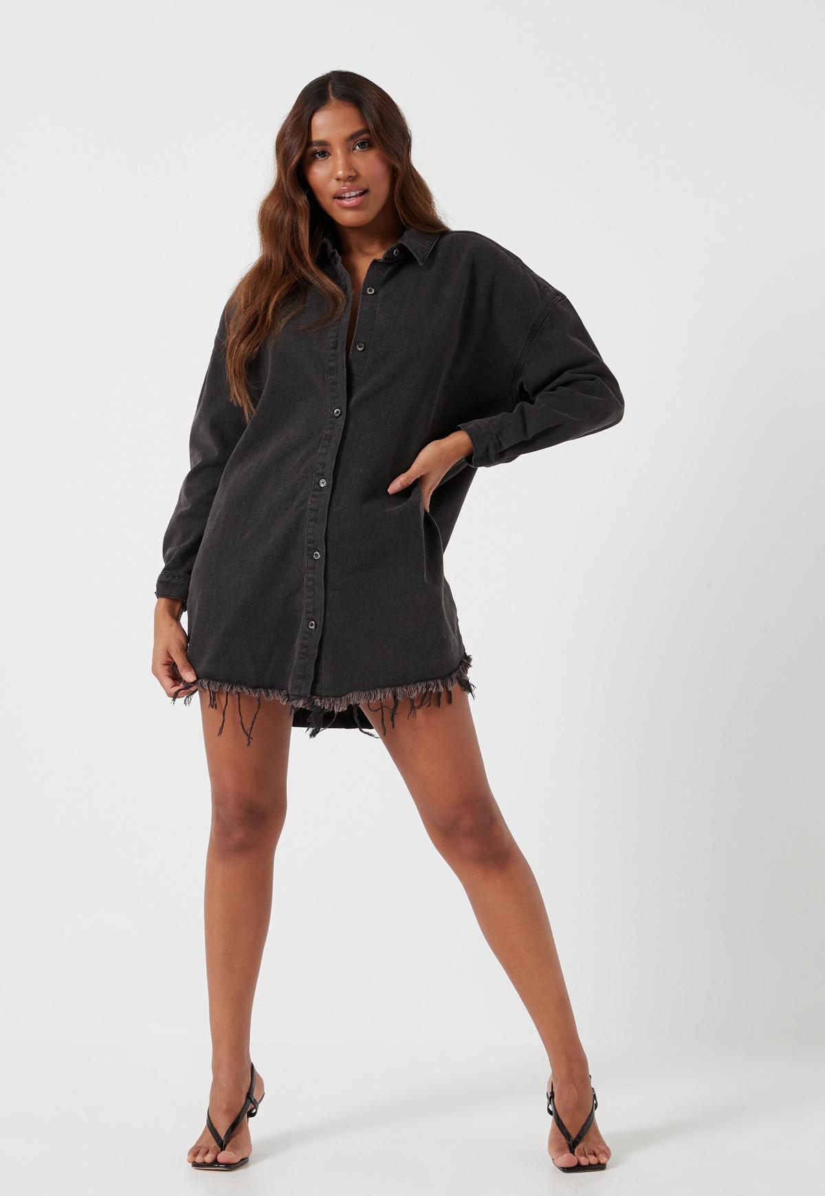 Black Oversized Denim Shirt Dress