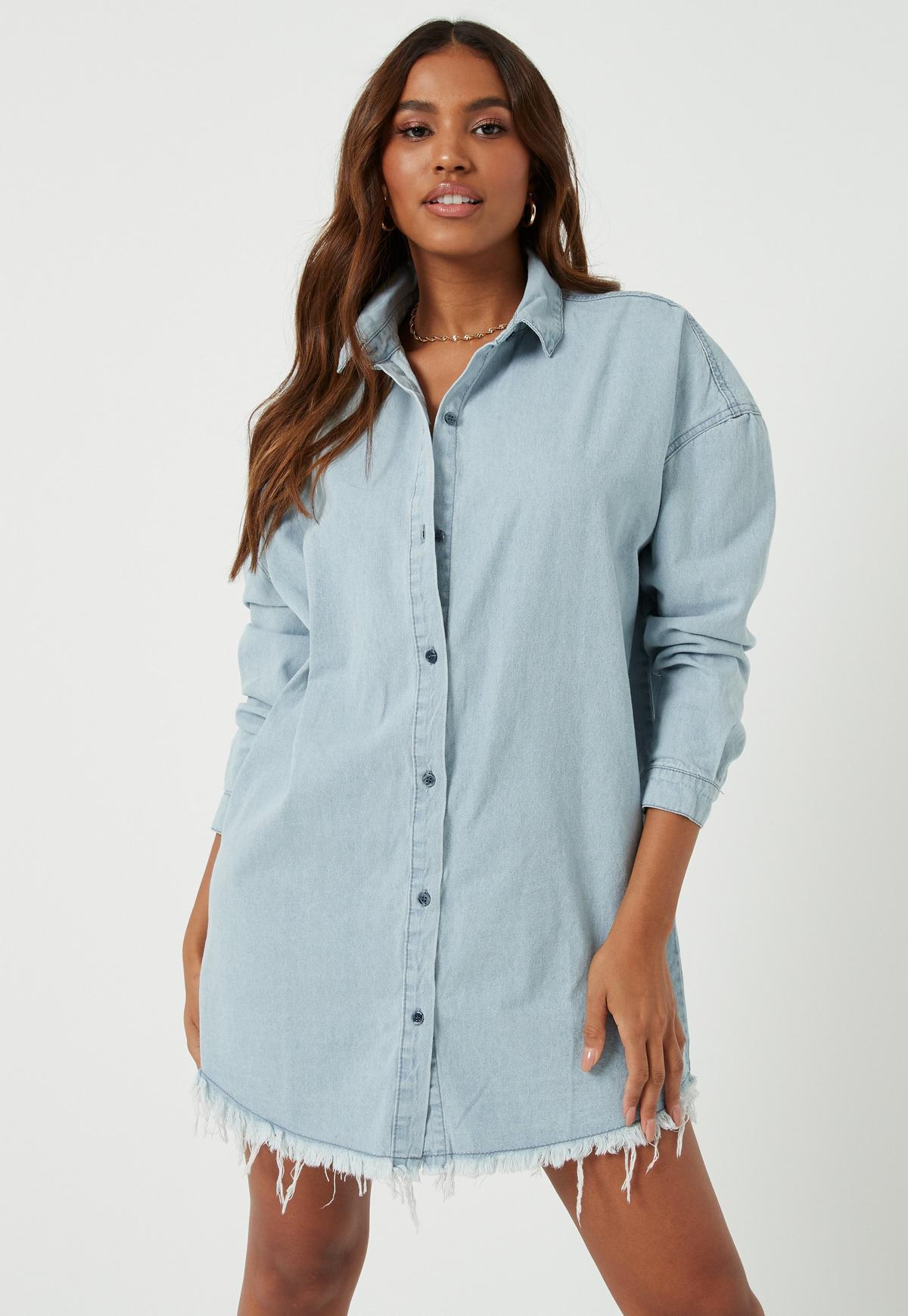 Robe chemise en jean bleu clair délavé