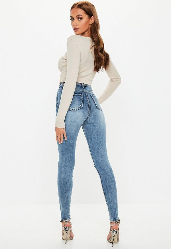 aa3a64f8 Blue Sinner Vintage Wash Distressed Knee High Waisted Skinny Jeans