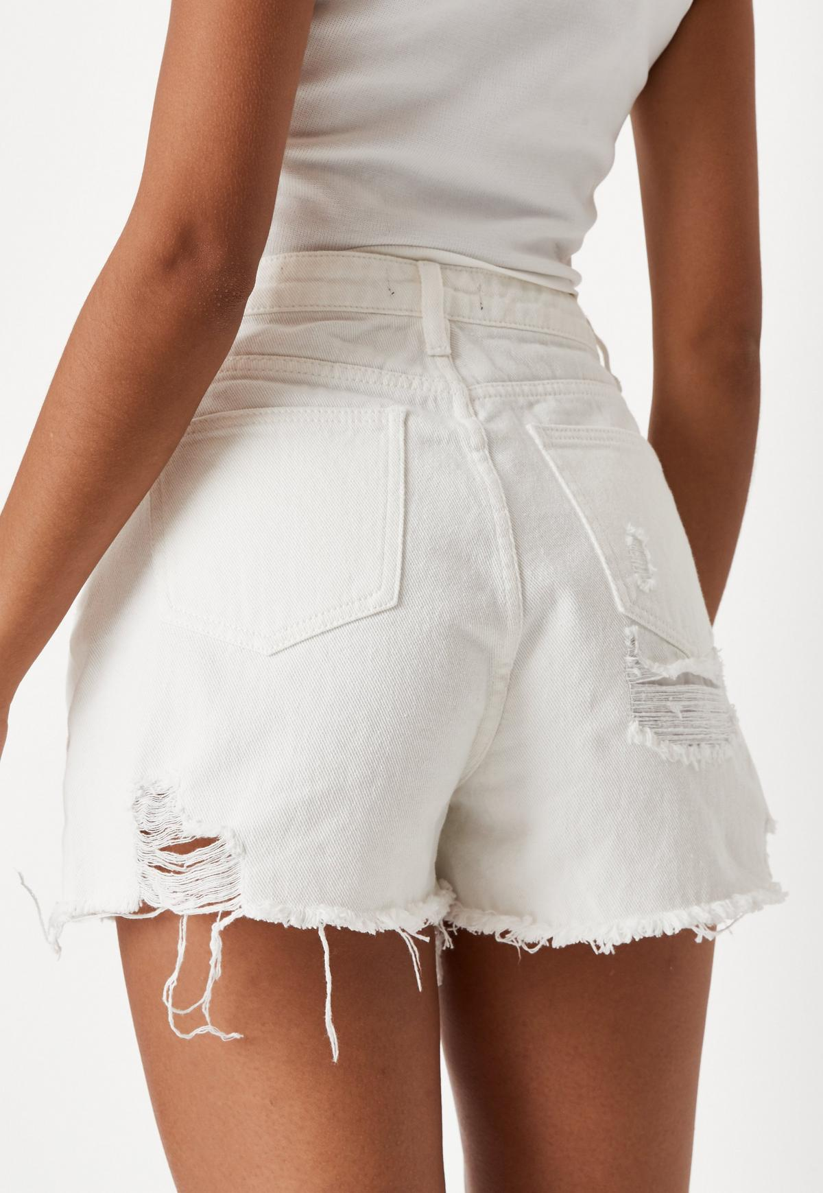 Short en jean blanc style destroy Petite