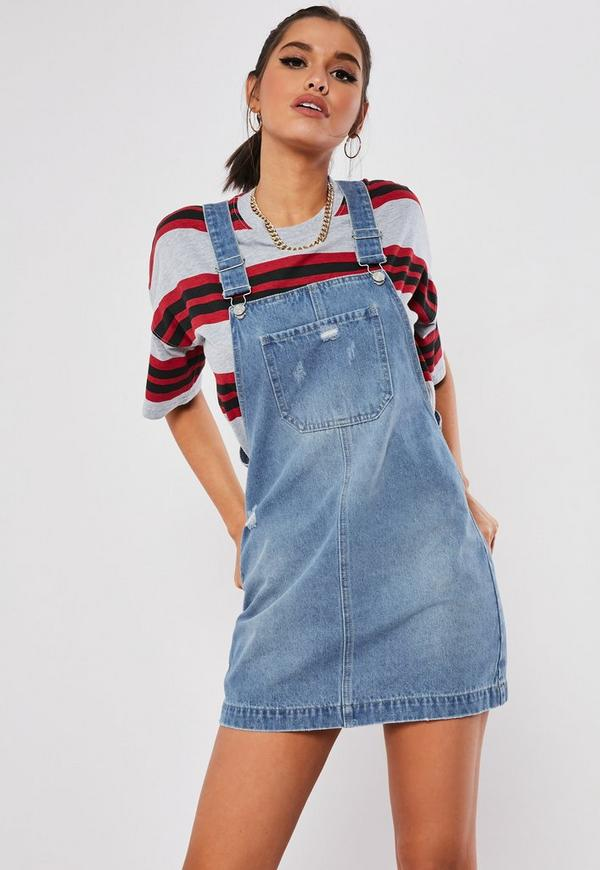 limpid in sight store save off Blue Distressed Denim Pinafore Dress