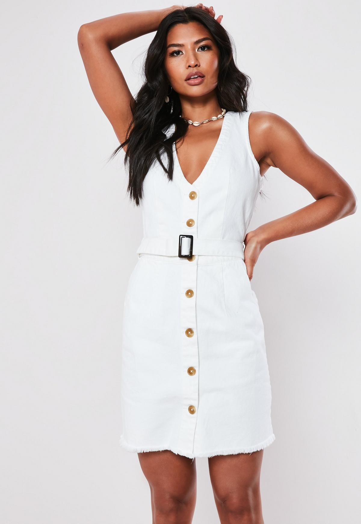 Tall Biała jeansowa sukienka zapinana na guziki