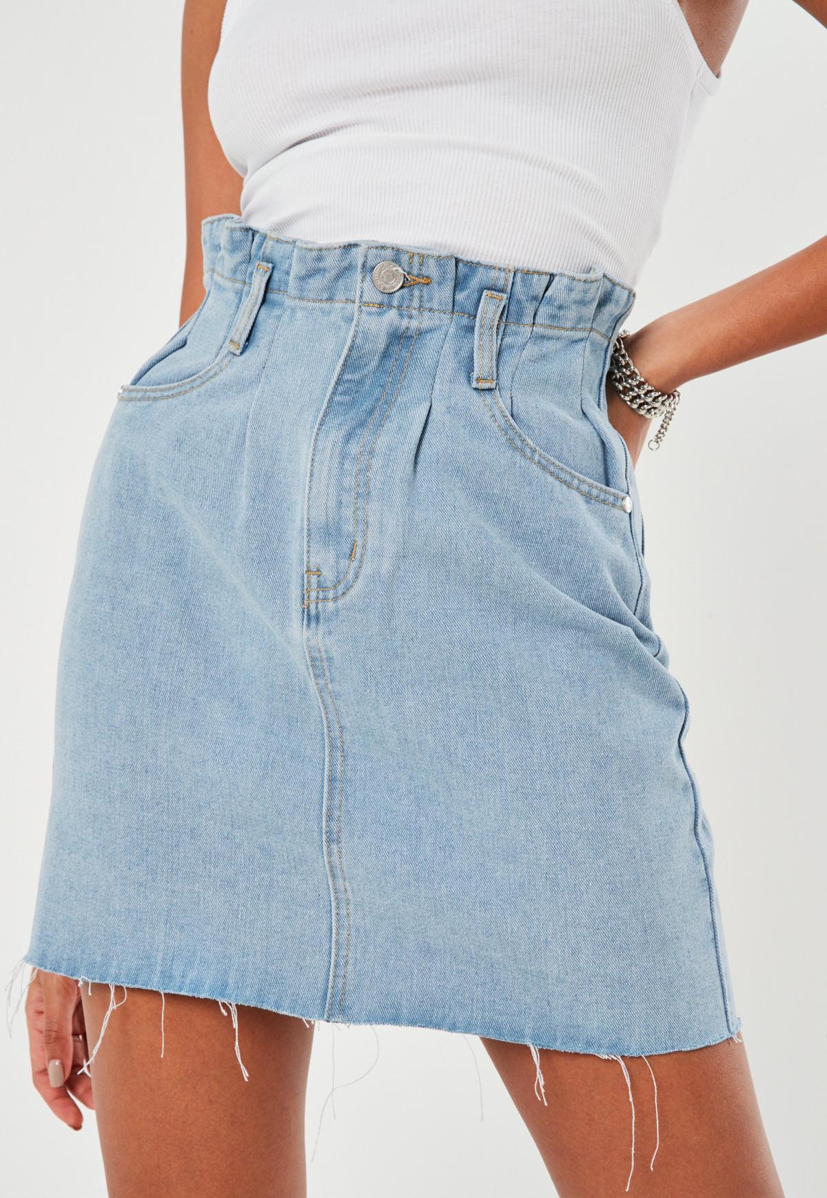 Jeansowa niebieska spódnica z falbaną