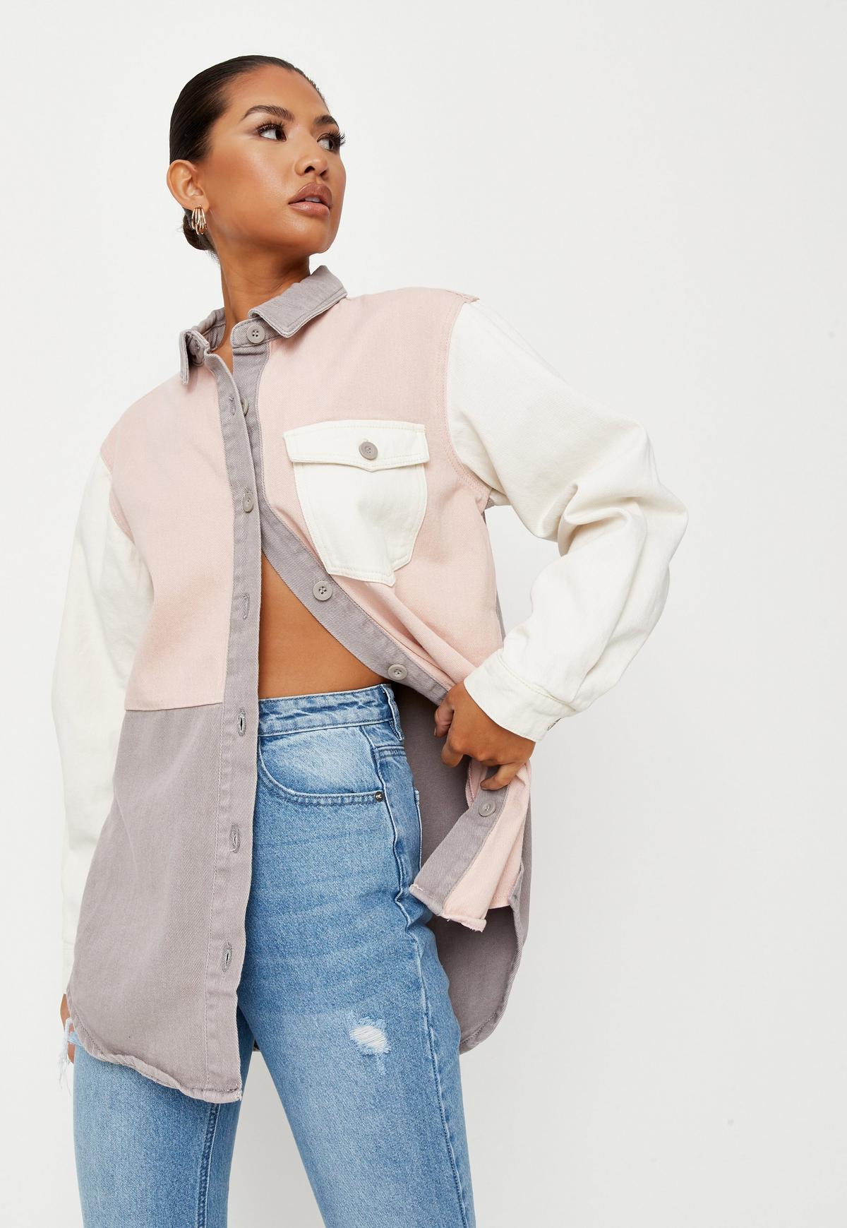 Pink Colorblock Oversized Denim Shirt