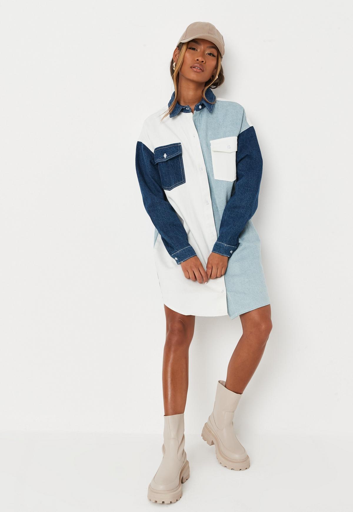 Light Blue Contrast Panel Denim Shirt Dress