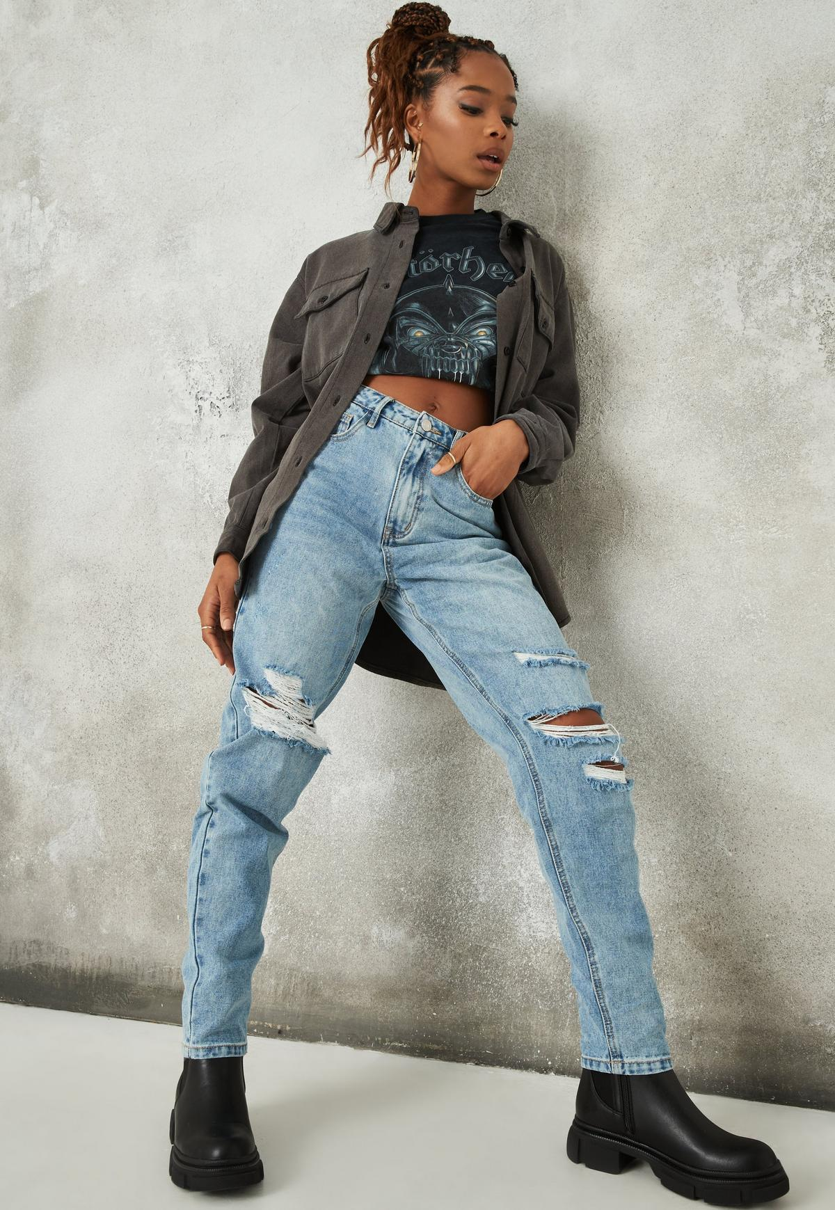 Blue Washed Riot Slash Distressed Mom Jeans | Missguided