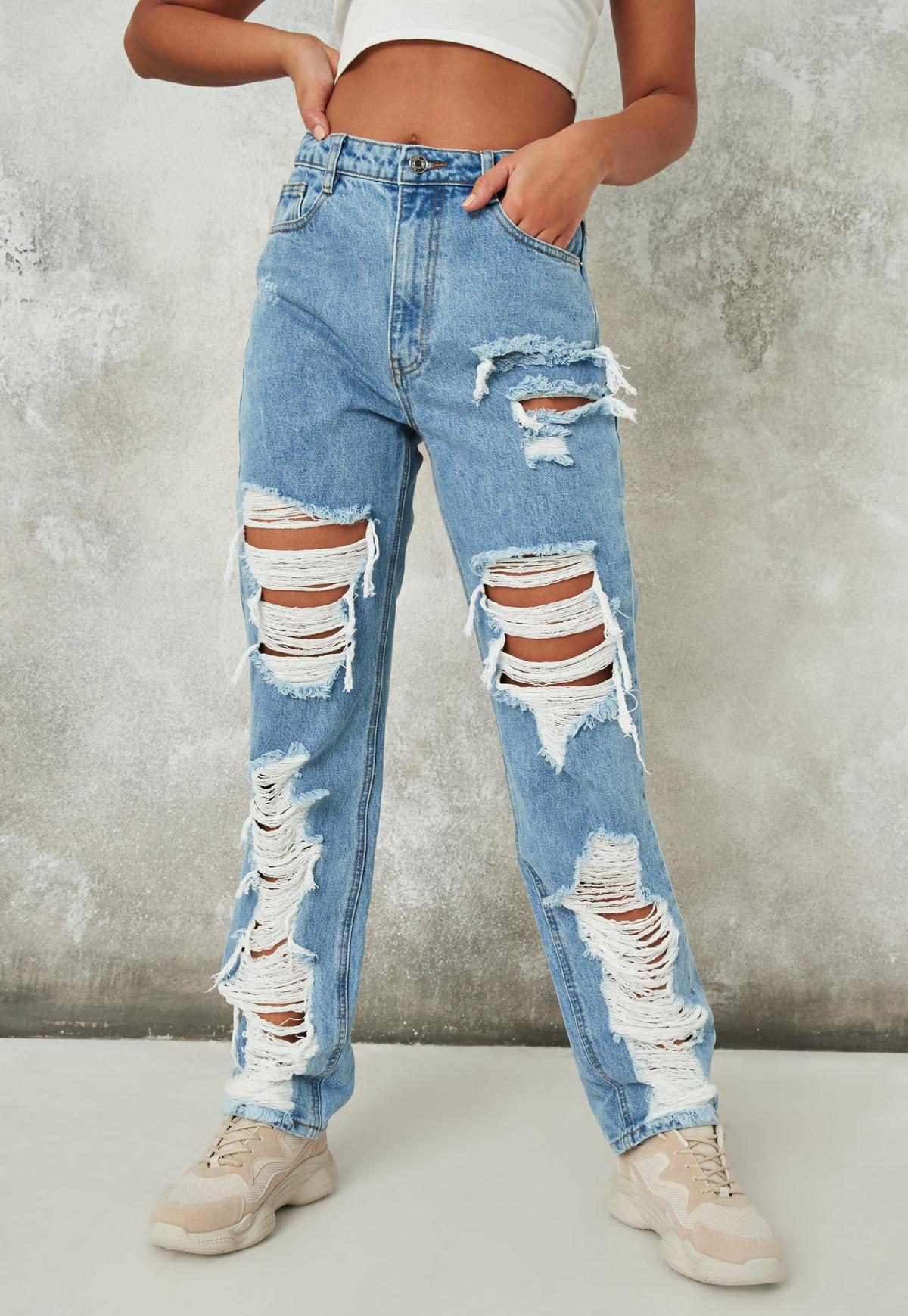 Blue Riot Distressed Roll Hem Dad Jeans | Missguided