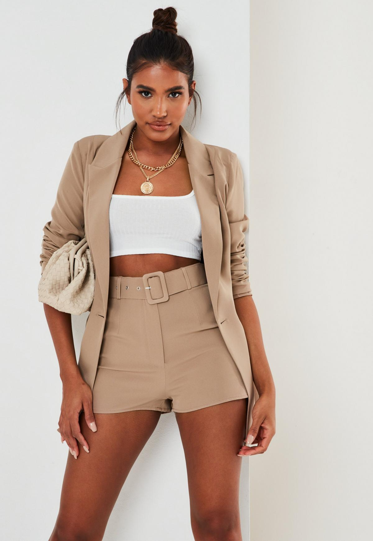 tall stone co ord self fabric belted shorts