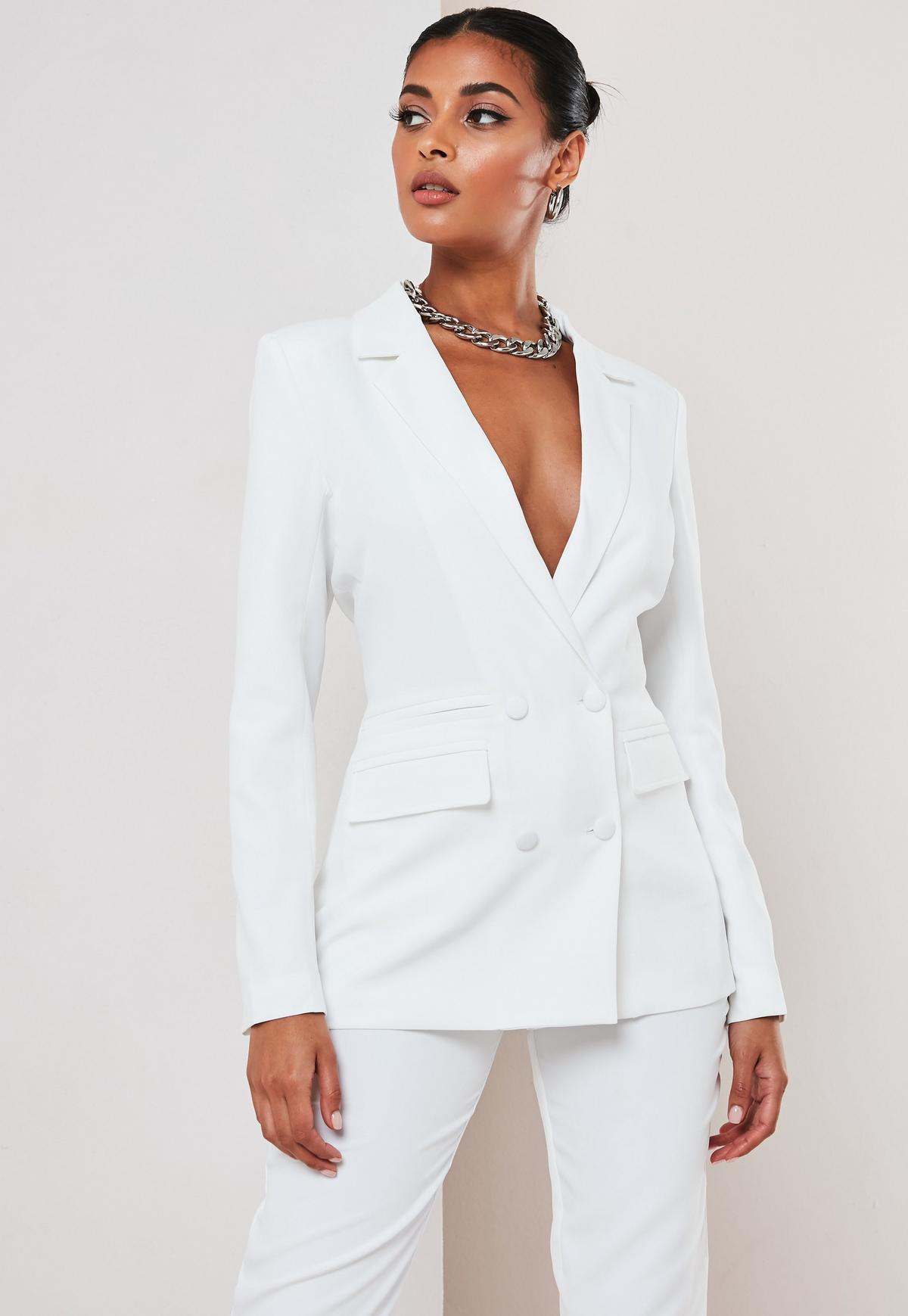 White Co Ord Double Breasted Blazer Missguided