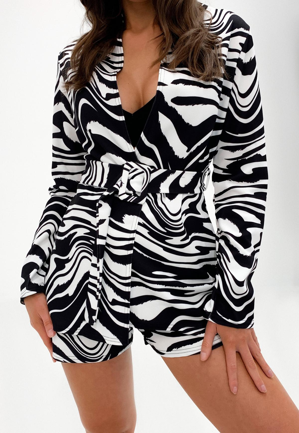 white co ord zebra print belted blazer