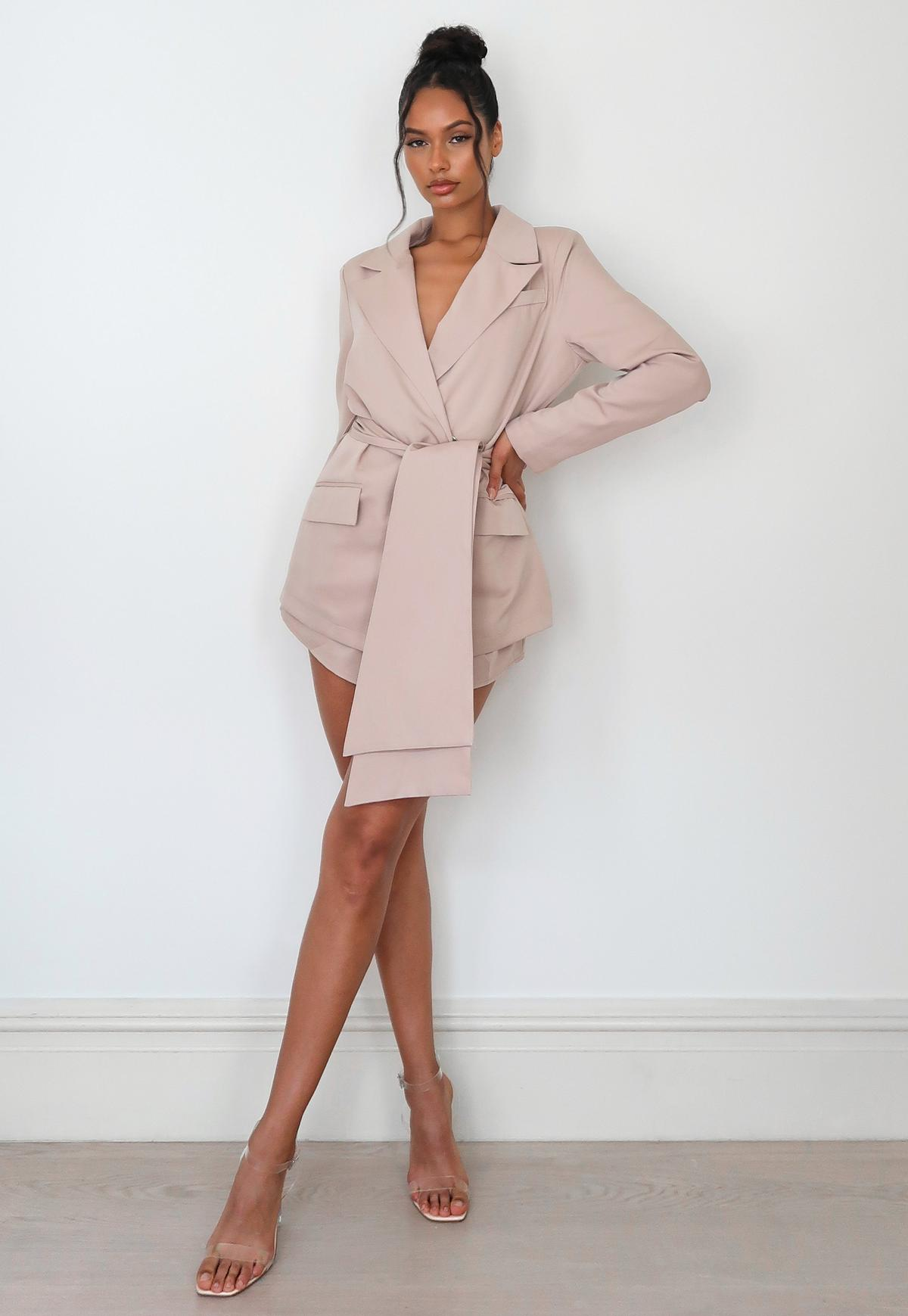 stone co ord oversized wrap front blazer