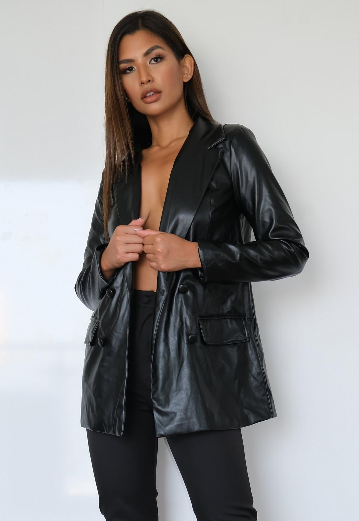 black faux leather oversized blazer