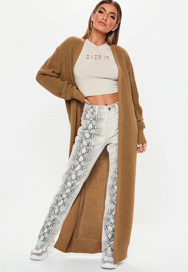 93d3b4f6974 Camel Long Maxi Knitted Cardigan