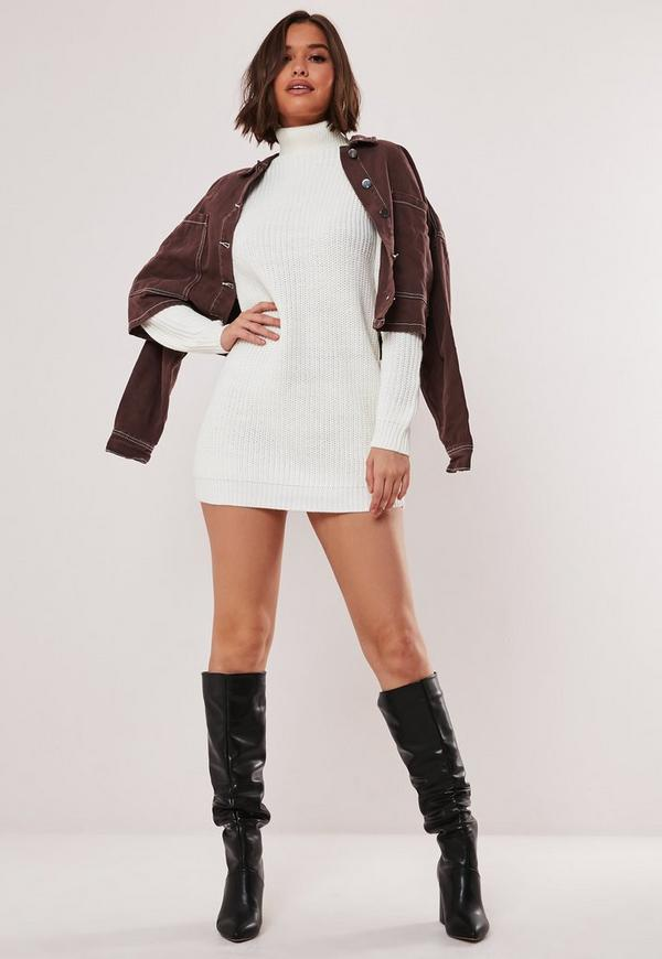low priced luxury aesthetic shop best sellers White Roll Neck Knit Jumper Dress