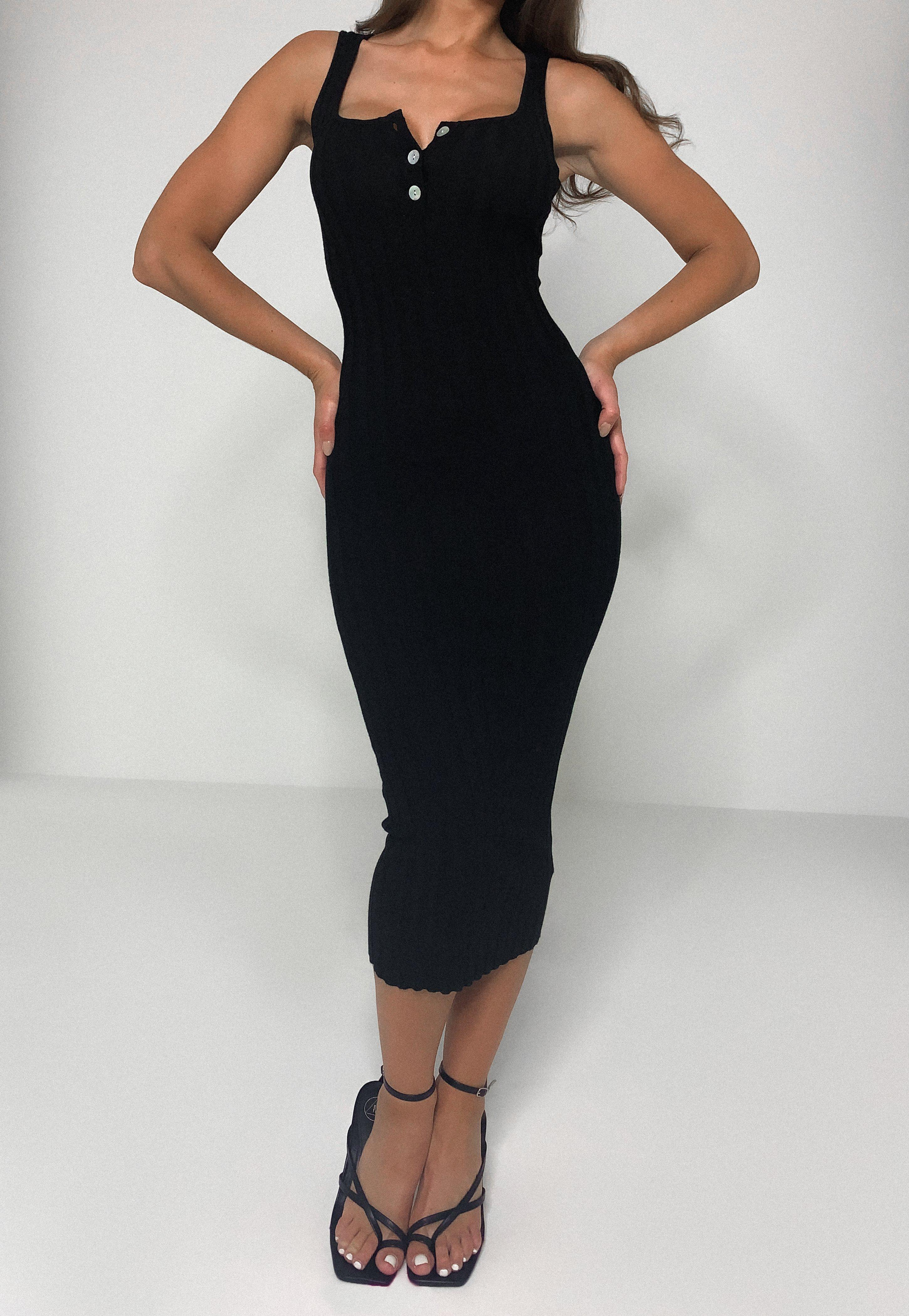 Black Rib Knit Midi Dress