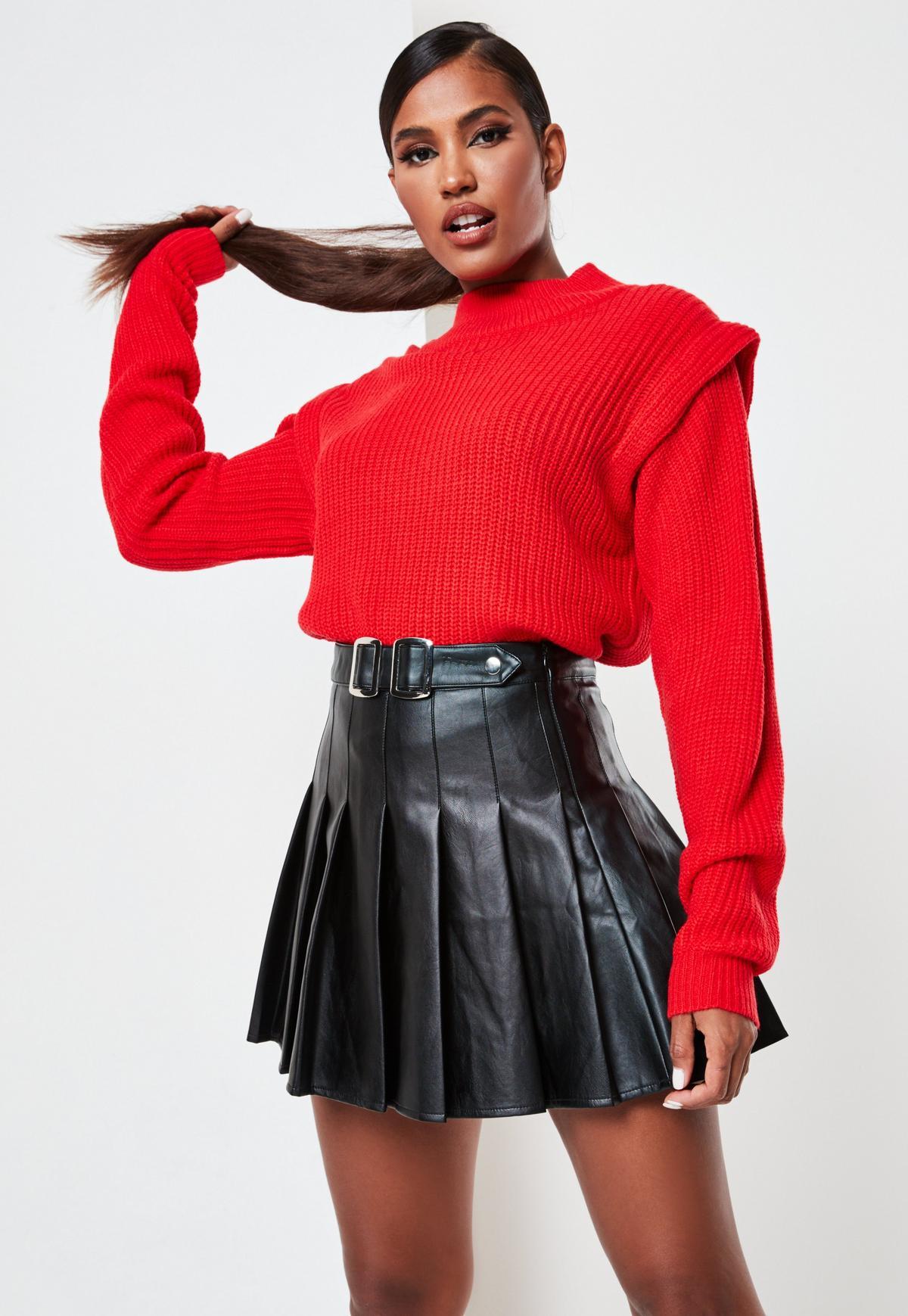 red high neck shoulder lip jumper