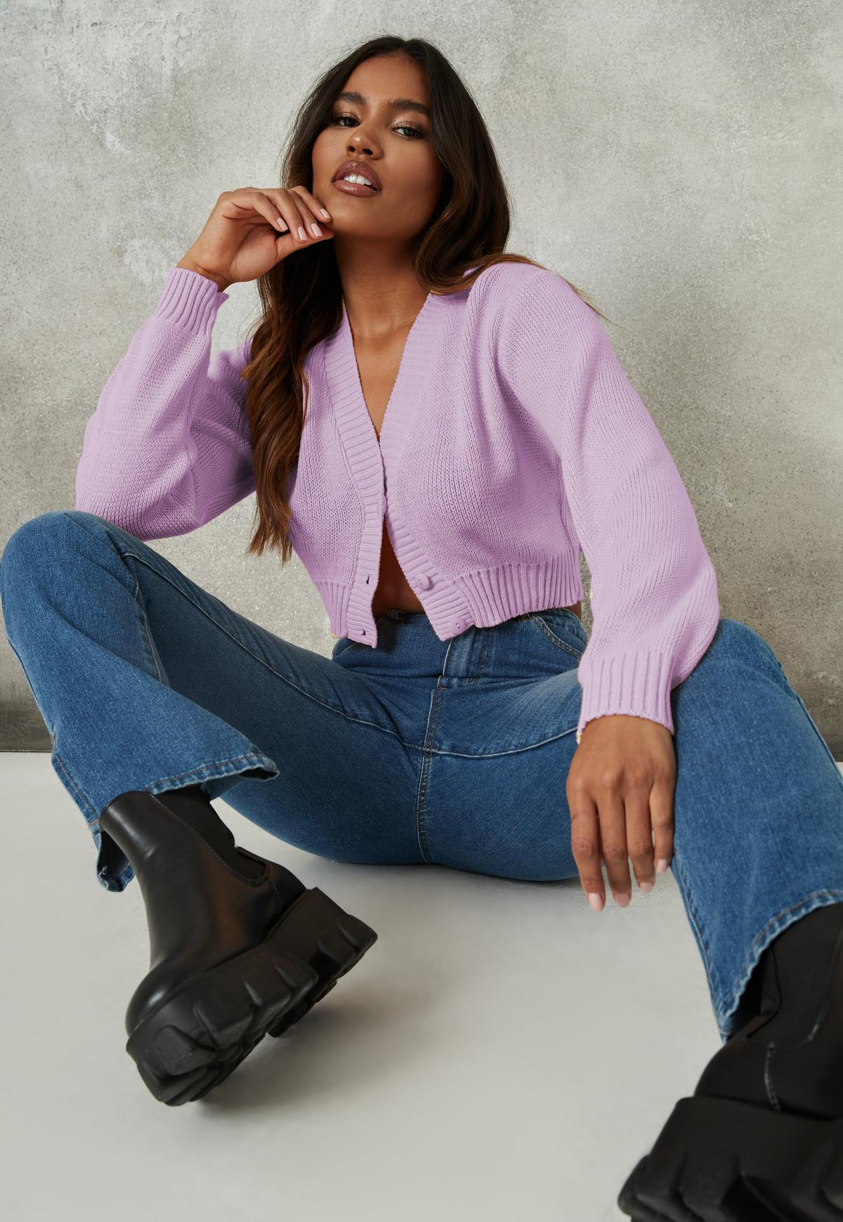 lilac basic knitted cardigan